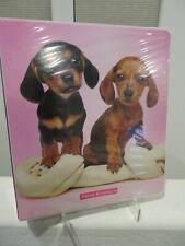 Dachshund 3-Ring Pink Paw Prints Puppies Binder Notebook Tan and Black/Tan New