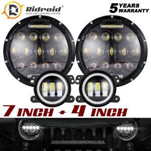 "DRL Hi/Lo 7'' LED Headlights + 4"" Fog Lamp for Jeep Wrangler JK JKU 2007-2018"
