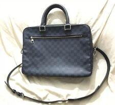 Authentic Louis Vuitton Damier Cobalt Canvas Leather Porte Document Business Bag