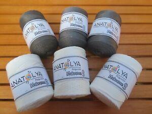 Anatolya Polyester Macrame 3 Craft Knitting Crochet 6 x100grams dark grey/white