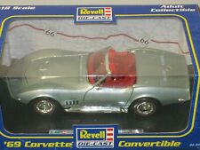 1/18 REVELL 1969 CHEVROLET CORVETTE CONVERTIBLE , SILVER , RED INTERIOR , NEW