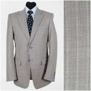 SELECTED Mens UK 38R Vintage Light Brown Striped Wool Sport Coat Blazer Jacket