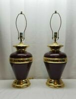 Vintage Hollywood Regency Anthony California Brass Enamel Lamps Red Gold Pair