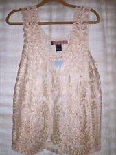NWT Urban Mango Sheer Gold  Embroidered Lace Top  Small Brand New