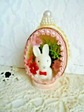 Vintage Handmade Easter Ornament - Real Egg Diorama Bunny w/Flowers