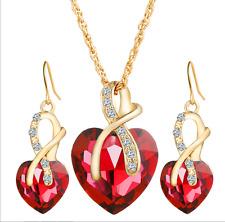 18K Gold Plated Austrian Crystal Heart Shape Necklace Earrings Jewelry Set Women