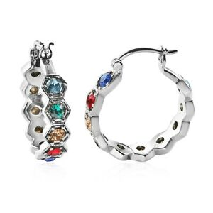 Inside Out Hoop Earrings Made with Swarovski Crystal Stainless Steel Multicolor