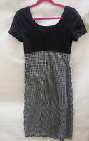 Womens St Michaels M&S Black White Check Knee length Stretchy Sun Dress Size 12