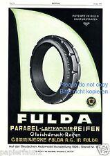 Reifen Fulda Parabel Reklame von 1926 Werbung ad tire
