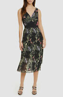 $790 Ted Baker London Womens Black Floral Malinae Pleated Shift Dress Size US 6