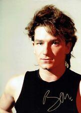 Bono U2 Signed 16x12 Inch Photo See Proof Signing RARE AFTAL/UACC RD