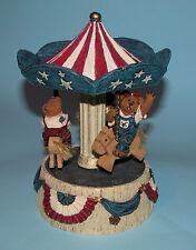 """Boyds Bears Carousel music box """"Martha Dolly & George.American"""" 2002 Nib 227810"""