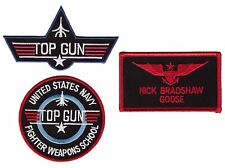 Goose Nick Top Gun School Name Badge Costume Patch Set (3pc Bundle-Hook Backing)