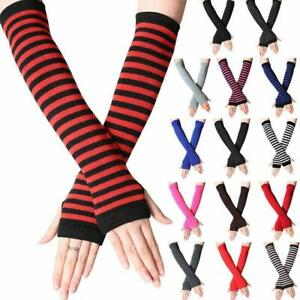 Striped Knitted Fingerless Thumb Gloves Arm Warmers Women Mitten New AU
