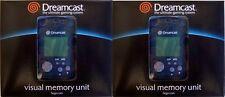 TWO GENUINE OEM SEGA DREAMCAST BLUE VISUAL LCD MEMORY UNIT CARD VMU OFFICIAL