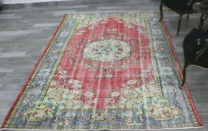Turkish High Quality Oriental Area Rug Anatolian Handmade Vintage Carpet 6x9 ft