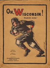 On WISCONSIN 1919 Sheet Music BADGER Football Large Format !