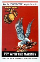 """Vintage U.S.M.C.  """"Fly with the Marines""""  Poster WW 2"""