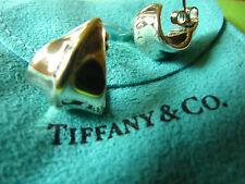 Tiffany & Co. Nature Leaf earrings 925 sterling silver 1/2 hoop huggie-18K Post