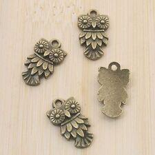 12pcs antiqued bronze owl design pendant charm G708