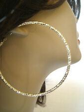 TEXTURED GOLD TONE HOOP EARRINGS 2.75 INCH HOOP EARRINGS SOLID CAST HOOPS