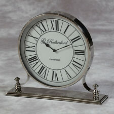 Large Polished Nickel Mantle Clock with Glass Fronted Face 42cm High x 48cm Wide