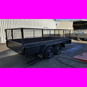 12x6 GALVANISED TANDEM TRAILER WITH CAGE 2000KG ONE PIECE FOLD FUL CHECKER PLATE