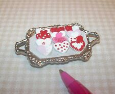 Miniature McVicker Frosted Heart Cookies on Tray: DOLLHOUSE Miniatures IGMA