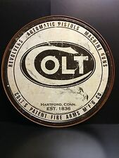 Colt Round TIN SIGN metal Wall Decor Vtg Gun Ammo Hunt Shoot Western
