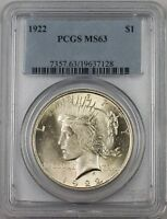 1922 Silver Peace Dollar Coin PCGS MS-63 (BR-28 E)