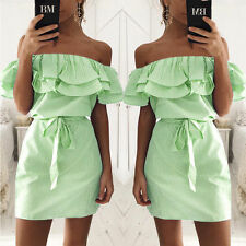 Boho Women Fashion Summer Ladies Strapless Casual Beach Party Shirt Mini Dress