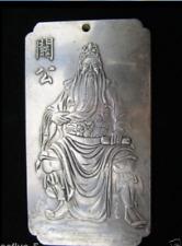"""Old Chinese Tibet Silver""""guan gong"""" Amulet Bullion Statue Thangka Netsuke"""