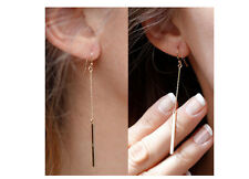 Simple & Elegant Gold Plated Long Drop Line Rectangle Chain Earrings Jewelry