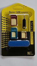 4x Nano Sim Karten 8 in 1 Adapter Set Nadel Feile iPhone 4 5 6 Samsung HTC LG