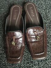 Ladies Genuine RALPH LAUREN Flat Leather Shoes No Backs Brown UK 4 Used