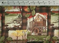 ~ Rustic Mill Bears Covered Bridge Plaid Collage ~ 100% Cotton Quilt Fabric BTY