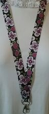 Purple flowers FLORAL lanyard safety clip ID badge holder handmade student gift