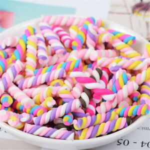 Lot of (x20) Polymer Clay Cabochons Twisted Marshmallow Candy Craft Decors Mixed
