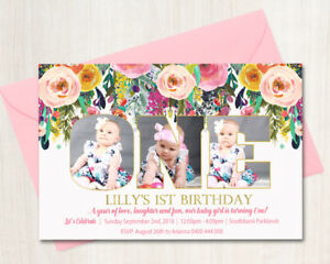 Custom Printable Girls Birthday Photo Word Invitation Boho Floral 1st Any Age