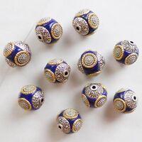10pcs Beautiful Pink Rare Earth /& Tibet silver Spacer Beads D1562811