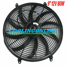 "HOT UNIVERSAL SLIM 9"" PULL PUSH RADIATOR Electirc Thermo FAN & MOUNTING 9 Inch"