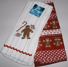 "Christmas Kitchen Towel Set 16.5""X26"" 100% Cotton GINGERBREAD MEN 2 Pk"