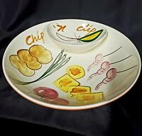 Vintage Painted Art  Chip and Dip Serving Dish Bowl