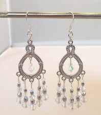 Chandelier Earrings With Clear Crystals. 3 1/8 inches.