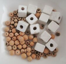13g Vintage Gold & White Wooden Bead Mix - Cubes, Round beads, Spacers