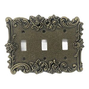 Vintage American Tack & Hardware Victorian Rose Triple Light Switch Cover 60TTT