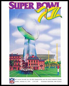Super Bowl VII (1978 - Cowboy vs Broncos) Poster of Game Program  8x10 Photo
