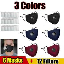 Wiederverwendbar Atemschutz Gesichtsmaske Mundschutz Staub Waschbar + 12 Filters