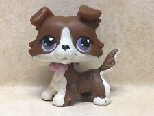 Littlest Pet Shop LPS no # brown white collie puzzle purple eyes Preowned
