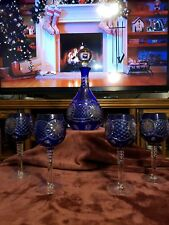 Cobalt Blue Decanter with Clear Glass Hand Blown Stopper set of 4